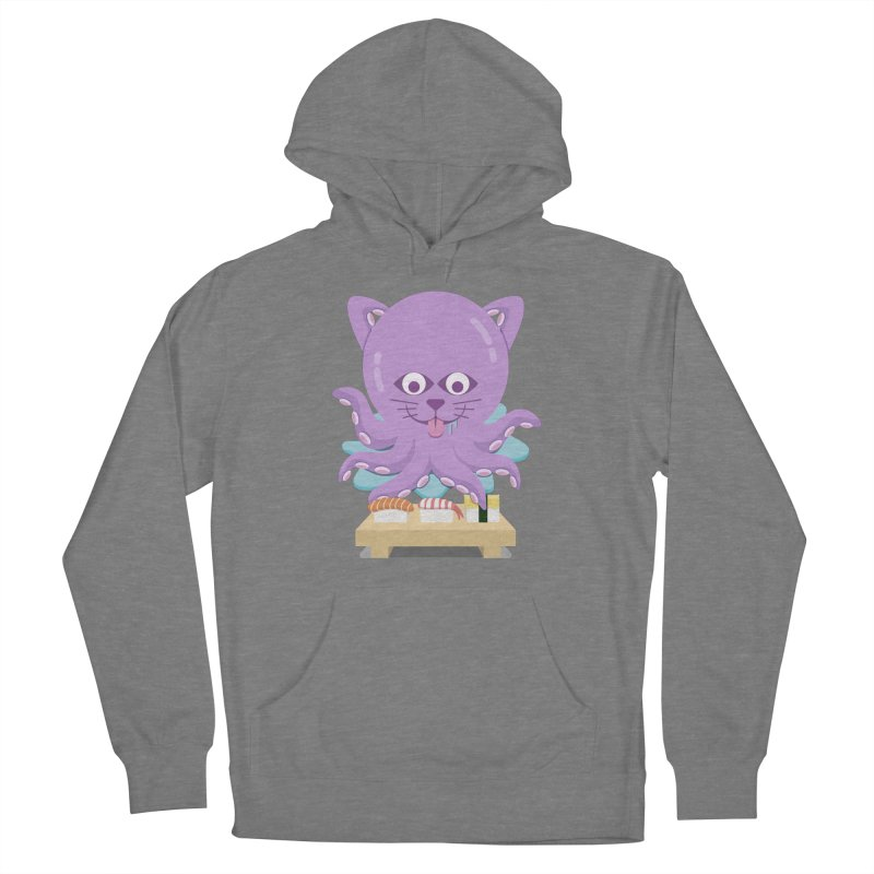 NekoTako, the Cat Wannabe Octopus, Loves Sushi. Women's Pullover Hoody by Sidewise Clothing & Design