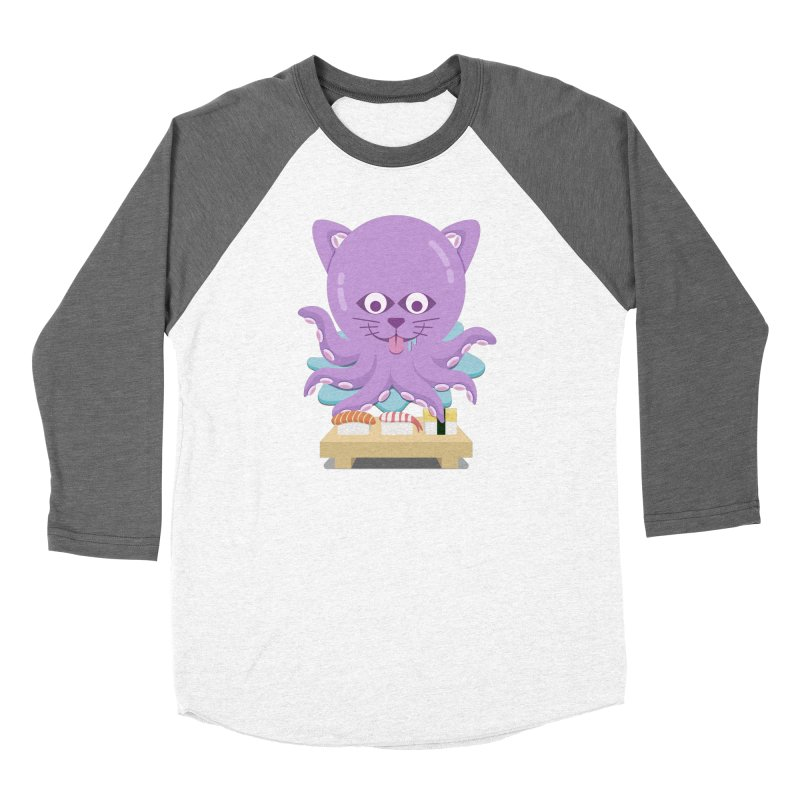 NekoTako, the Cat Wannabe Octopus, Loves Sushi. Women's Longsleeve T-Shirt by Sidewise Clothing & Design