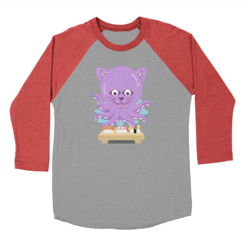 NekoTako, the Cat Wannabe Octopus, Loves Sushi. Men's Longsleeve T-Shirt by Sidewise Clothing & Design