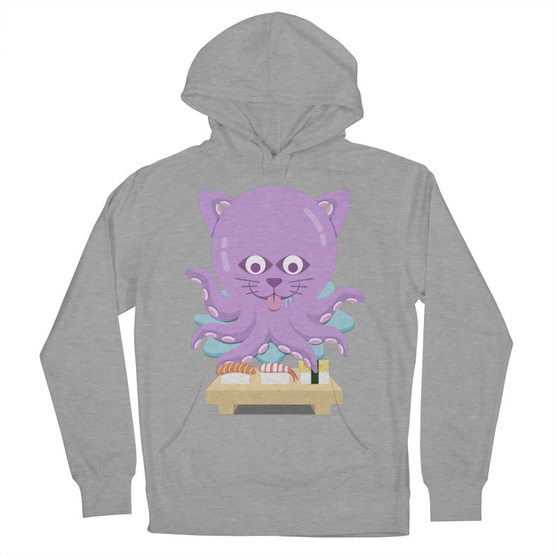 NekoTako, the Cat Wannabe Octopus, Loves Sushi. Women's French Terry Pullover Hoody by Sidewise Clothing & Design