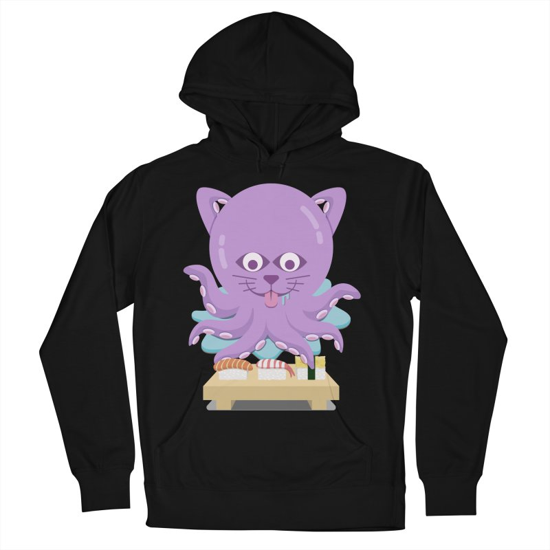 NekoTako, the Cat Wannabe Octopus, Loves Sushi. Men's French Terry Pullover Hoody by Sidewise Clothing & Design