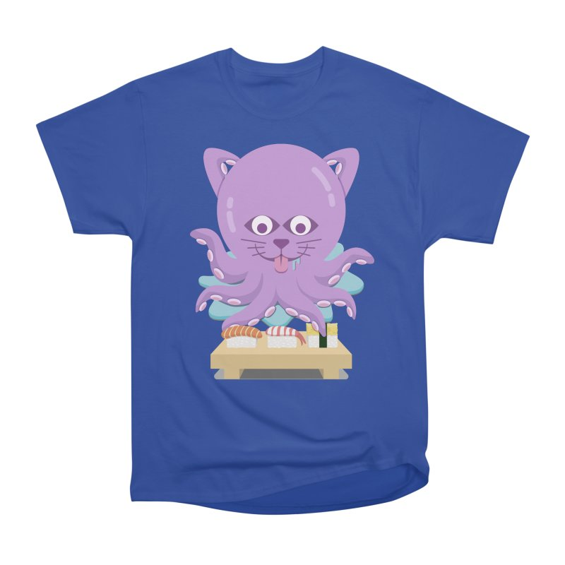 NekoTako, the Cat Wannabe Octopus, Loves Sushi. Women's Heavyweight Unisex T-Shirt by Sidewise Clothing & Design