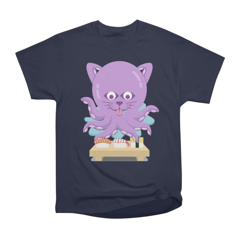 NekoTako, the Cat Wannabe Octopus, Loves Sushi. Men's Heavyweight T-Shirt by Sidewise Clothing & Design