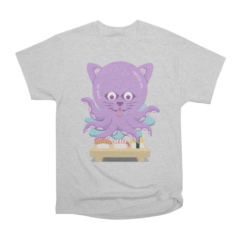 NekoTako, the Cat Wannabe Octopus, Loves Sushi. Women's Heavyweight Unisex T-Shirt by Sidewise Clothing & Design