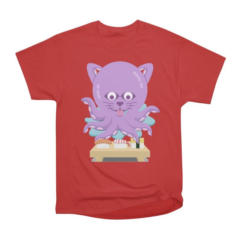 NekoTako, the Cat Wannabe Octopus, Loves Sushi. Men's Heavyweight T-Shirt by Sidewise Clothing & Design