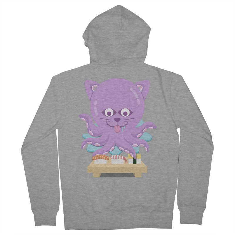 NekoTako, the Cat Wannabe Octopus, Loves Sushi. Women's French Terry Zip-Up Hoody by Sidewise Clothing & Design