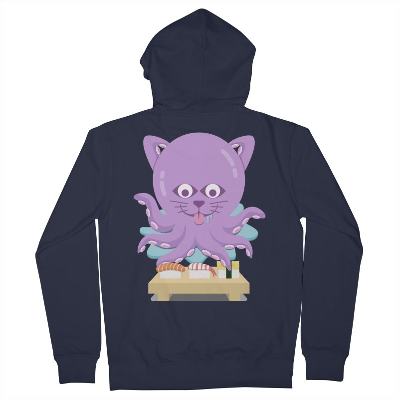 NekoTako, the Cat Wannabe Octopus, Loves Sushi. Women's Zip-Up Hoody by Sidewise Clothing & Design