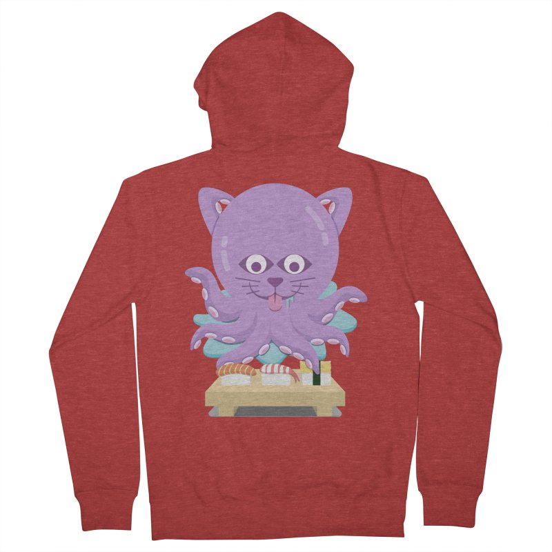 NekoTako, the Cat Wannabe Octopus, Loves Sushi. Men's French Terry Zip-Up Hoody by Sidewise Clothing & Design