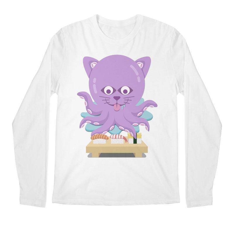 NekoTako, the Cat Wannabe Octopus, Loves Sushi. Men's Regular Longsleeve T-Shirt by Sidewise Clothing & Design