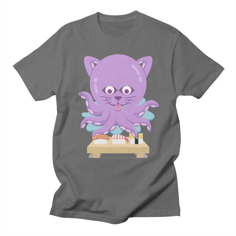 NekoTako, the Cat Wannabe Octopus, Loves Sushi. Men's T-Shirt by Sidewise Clothing & Design