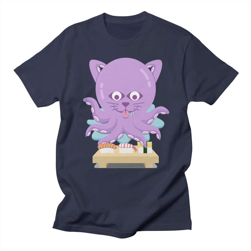 NekoTako, the Cat Wannabe Octopus, Loves Sushi. Women's Regular Unisex T-Shirt by Sidewise Clothing & Design