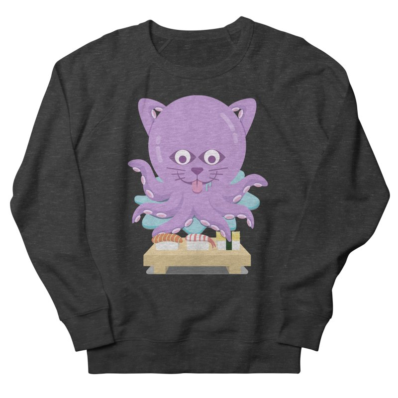 NekoTako, the Cat Wannabe Octopus, Loves Sushi. Men's French Terry Sweatshirt by Sidewise Clothing & Design