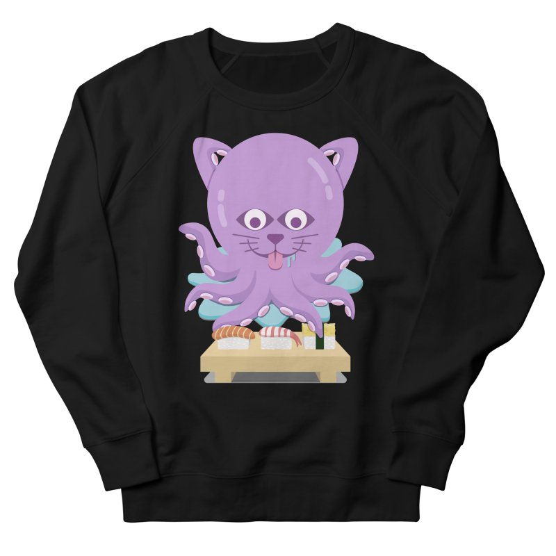 NekoTako, the Cat Wannabe Octopus, Loves Sushi. Men's French Terry Sweatshirt by Sidewise Clothing & Design