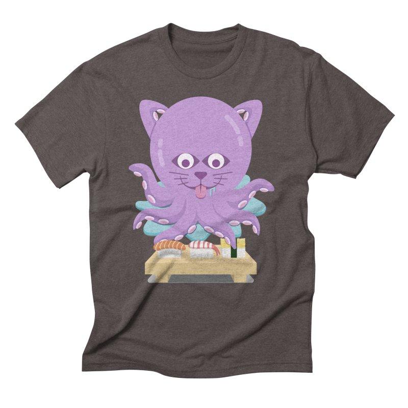 NekoTako, the Cat Wannabe Octopus, Loves Sushi. Men's Triblend T-Shirt by Sidewise Clothing & Design