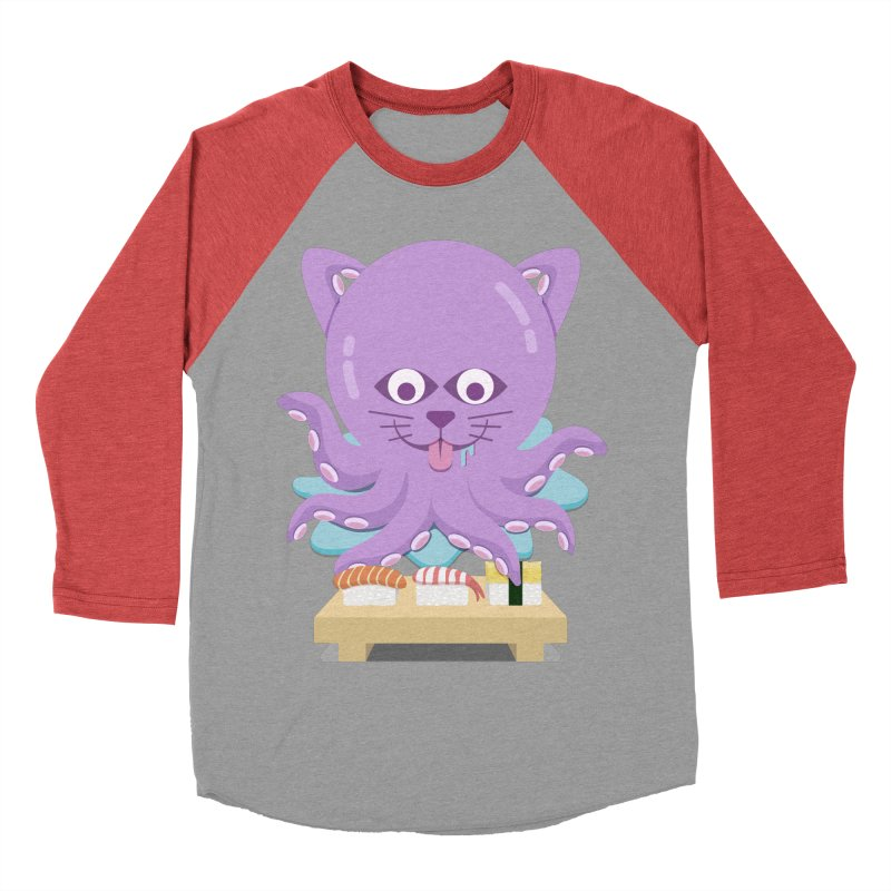NekoTako, the Cat Wannabe Octopus, Loves Sushi. Women's Baseball Triblend Longsleeve T-Shirt by Sidewise Clothing & Design
