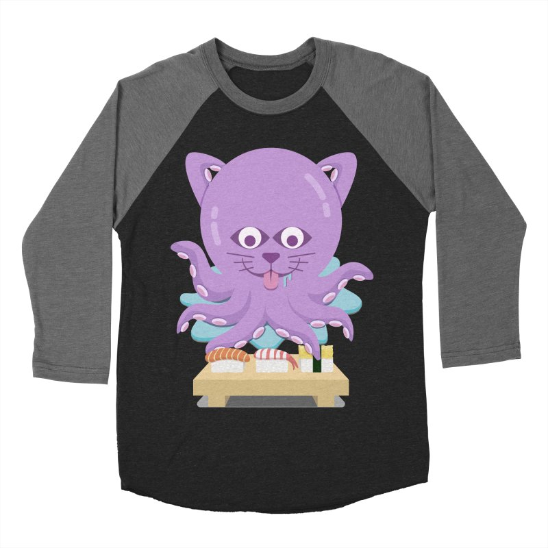 NekoTako, the Cat Wannabe Octopus, Loves Sushi. Men's Baseball Triblend Longsleeve T-Shirt by Sidewise Clothing & Design