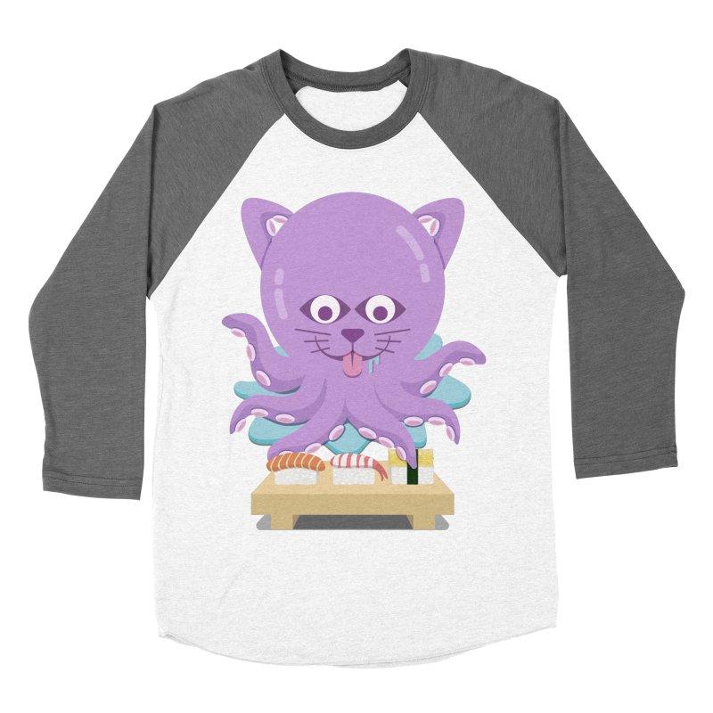 NekoTako, the Cat Wannabe Octopus, Loves Sushi. Men's Baseball Triblend Longsleeve T-Shirt by Sidewise Clothing & Design