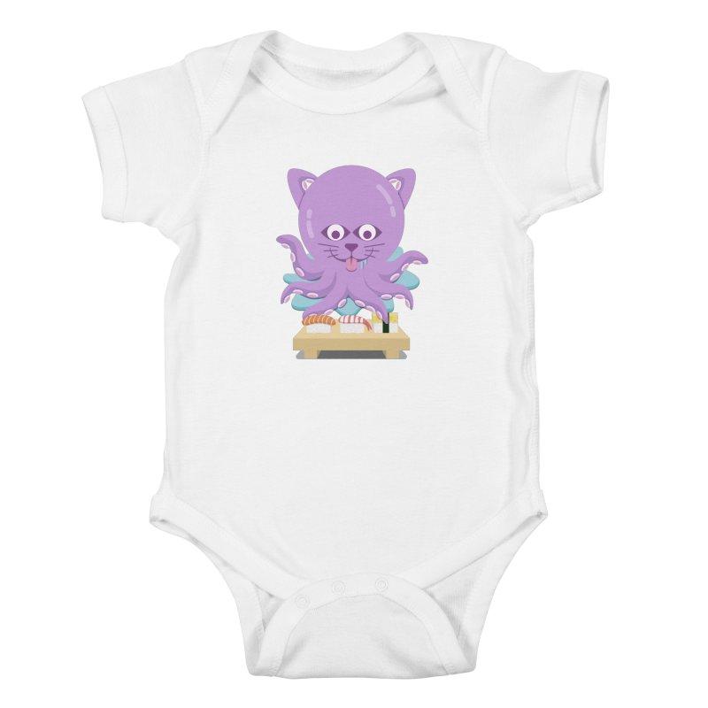 NekoTako, the Cat Wannabe Octopus, Loves Sushi. Kids Baby Bodysuit by Sidewise Clothing & Design