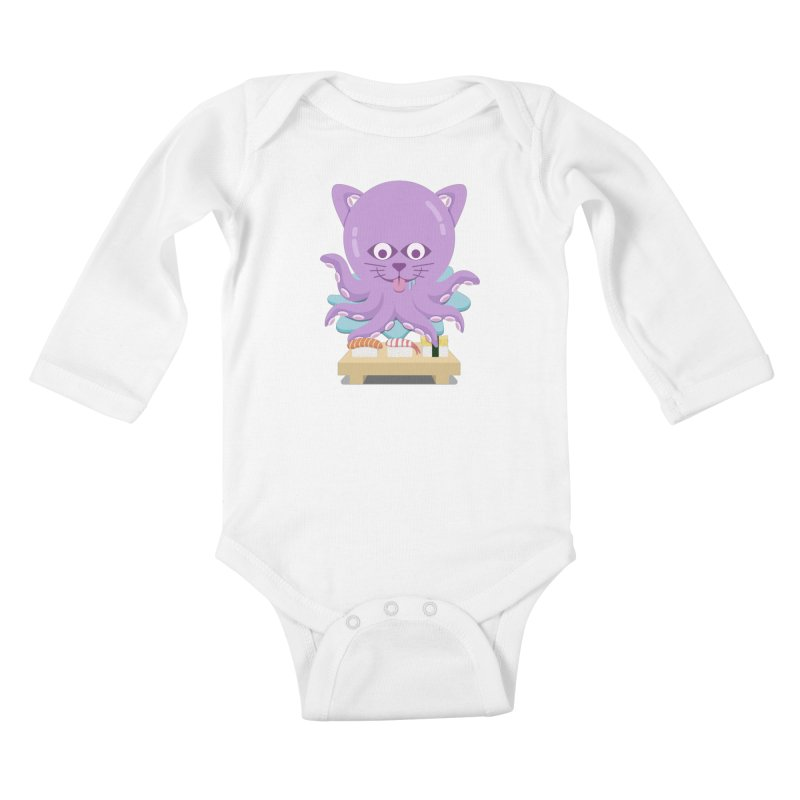 NekoTako, the Cat Wannabe Octopus, Loves Sushi. Kids Baby Longsleeve Bodysuit by Sidewise Clothing & Design