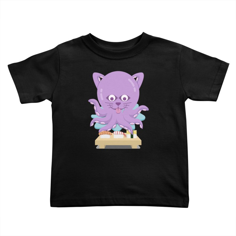 NekoTako, the Cat Wannabe Octopus, Loves Sushi. Kids Toddler T-Shirt by Sidewise Clothing & Design