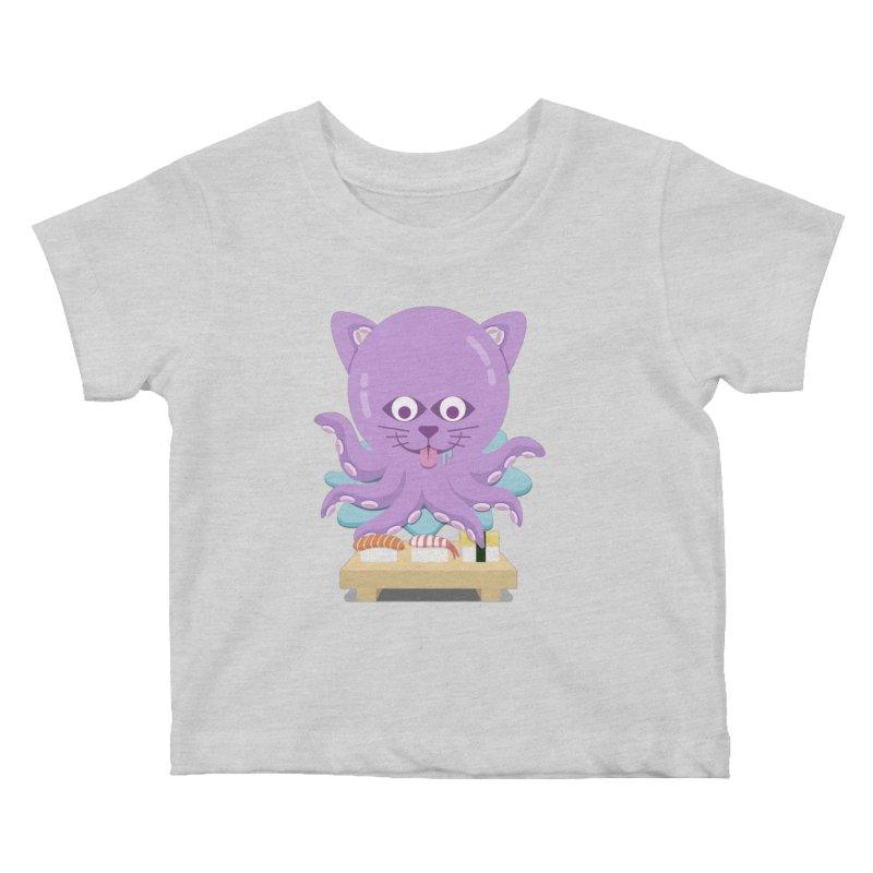 NekoTako, the Cat Wannabe Octopus, Loves Sushi. Kids Baby T-Shirt by Sidewise Clothing & Design