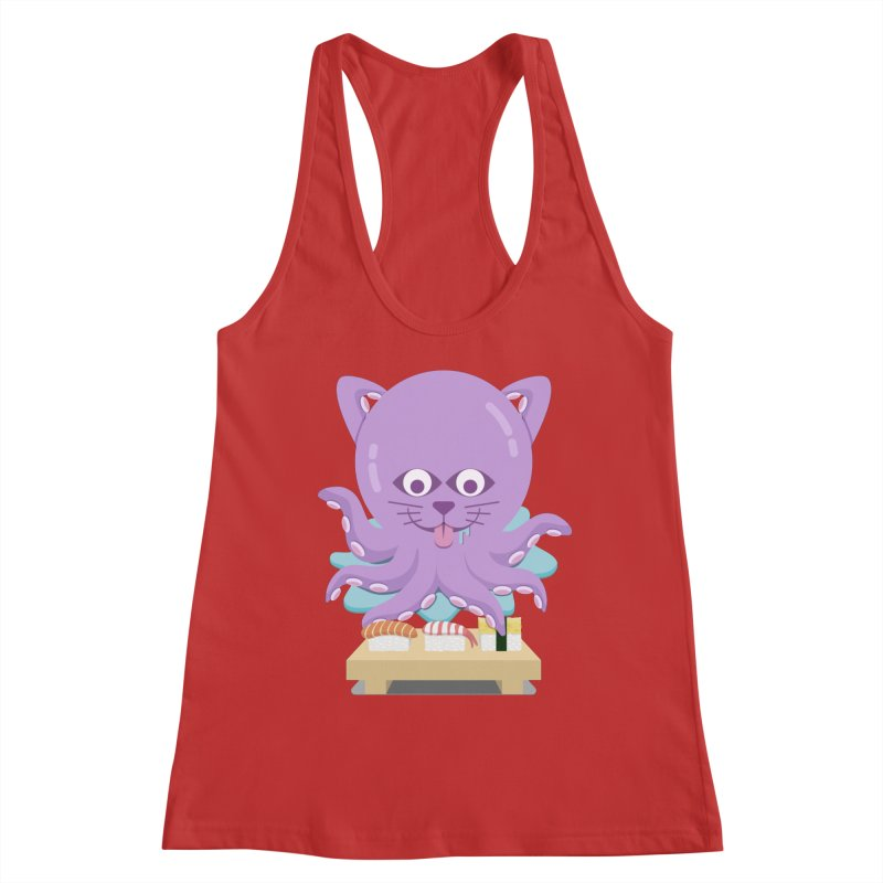 NekoTako, the Cat Wannabe Octopus, Loves Sushi. Women's Tank by Sidewise Clothing & Design