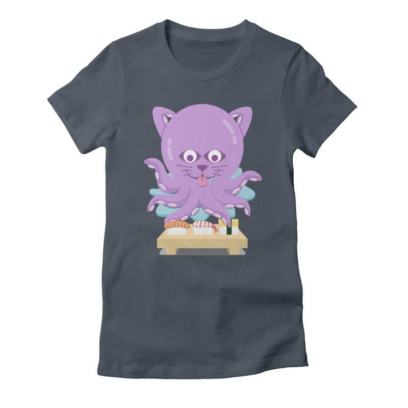 NekoTako, the Cat Wannabe Octopus, Loves Sushi. Women's T-Shirt by Sidewise Clothing & Design
