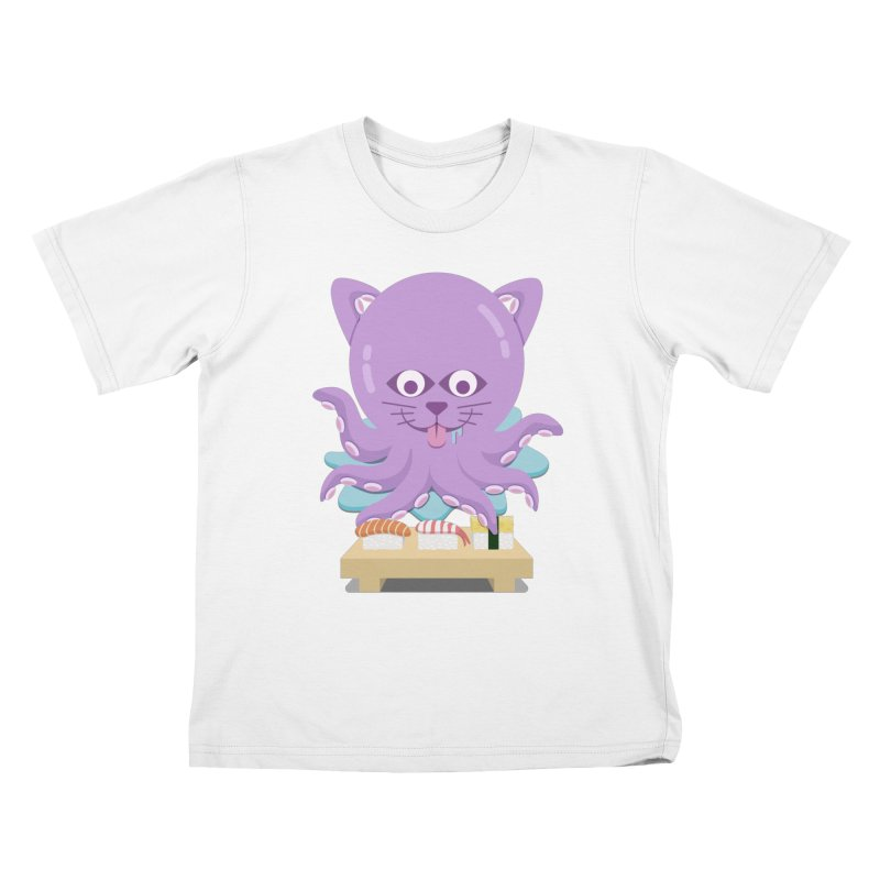 NekoTako, the Cat Wannabe Octopus, Loves Sushi. Kids T-Shirt by Sidewise Clothing & Design