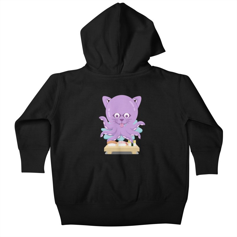 NekoTako, the Cat Wannabe Octopus, Loves Sushi. Kids Baby Zip-Up Hoody by Sidewise Clothing & Design