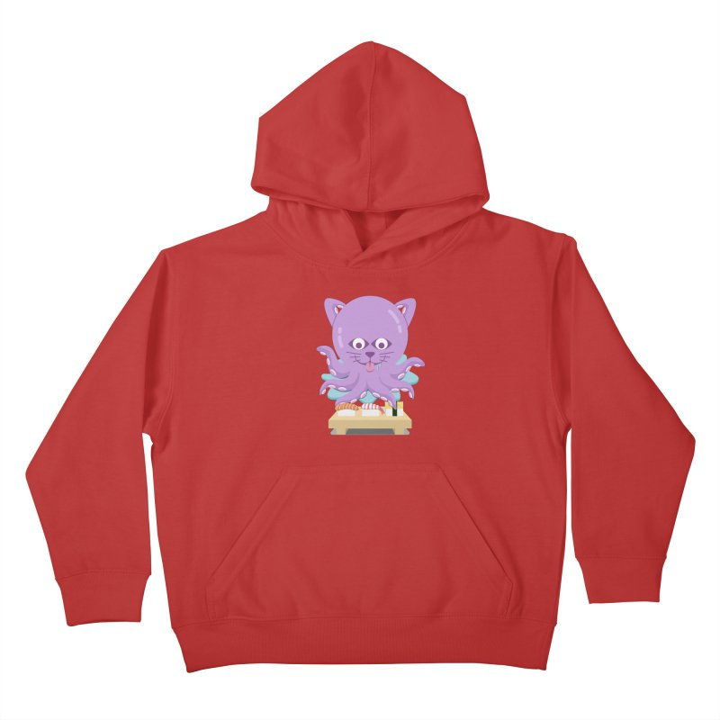 NekoTako, the Cat Wannabe Octopus, Loves Sushi. Kids Pullover Hoody by Sidewise Clothing & Design