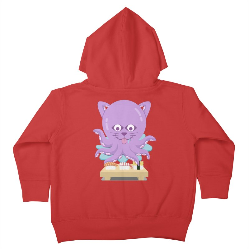 NekoTako, the Cat Wannabe Octopus, Loves Sushi. Kids Toddler Zip-Up Hoody by Sidewise Clothing & Design