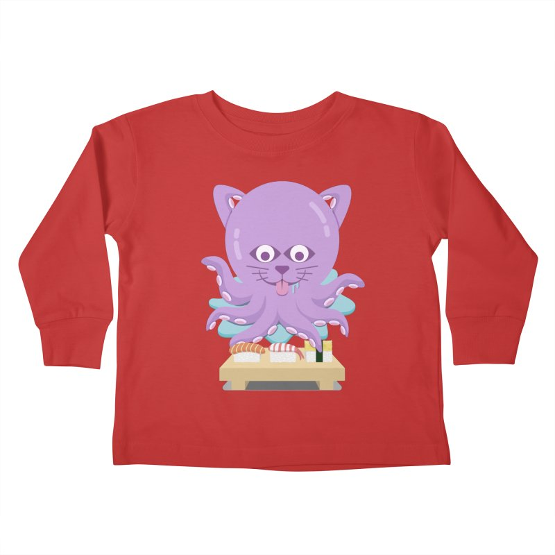 NekoTako, the Cat Wannabe Octopus, Loves Sushi. Kids Toddler Longsleeve T-Shirt by Sidewise Clothing & Design