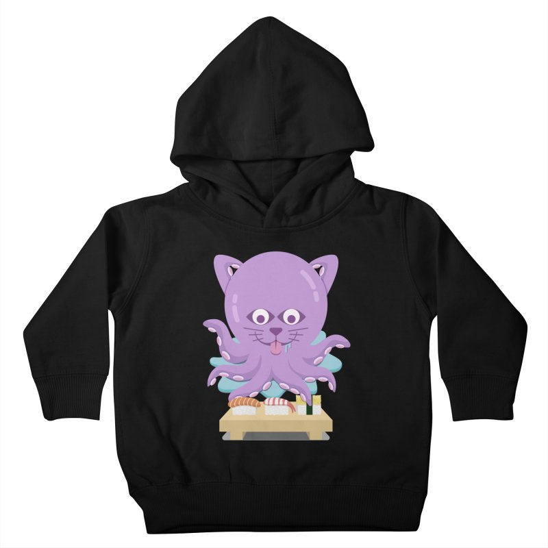 NekoTako, the Cat Wannabe Octopus, Loves Sushi. Kids Toddler Pullover Hoody by Sidewise Clothing & Design