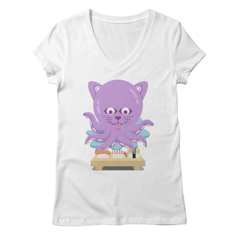 NekoTako, the Cat Wannabe Octopus, Loves Sushi. Women's Regular V-Neck by Sidewise Clothing & Design