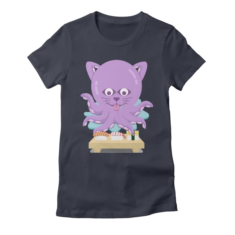NekoTako, the Cat Wannabe Octopus, Loves Sushi. Women's Fitted T-Shirt by Sidewise Clothing & Design