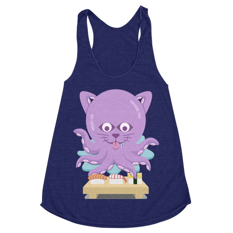 NekoTako, the Cat Wannabe Octopus, Loves Sushi. Women's Racerback Triblend Tank by Sidewise Clothing & Design