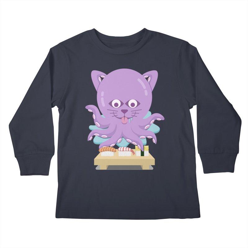 NekoTako, the Cat Wannabe Octopus, Loves Sushi. Kids Longsleeve T-Shirt by Sidewise Clothing & Design