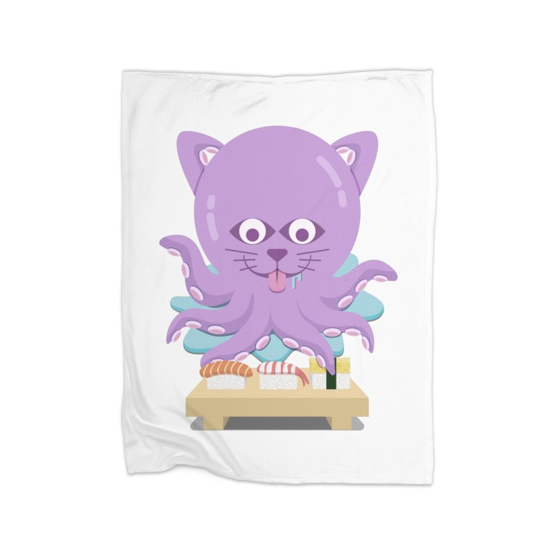 NekoTako, the Cat Wannabe Octopus, Loves Sushi. Home Fleece Blanket Blanket by Sidewise Clothing & Design