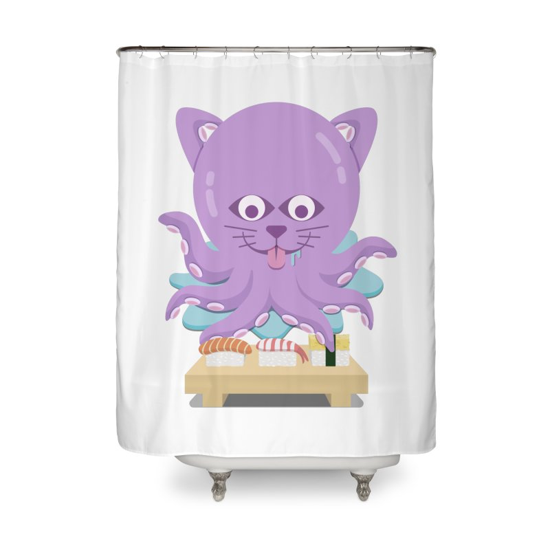 NekoTako, the Cat Wannabe Octopus, Loves Sushi. Home Shower Curtain by Sidewise Clothing & Design