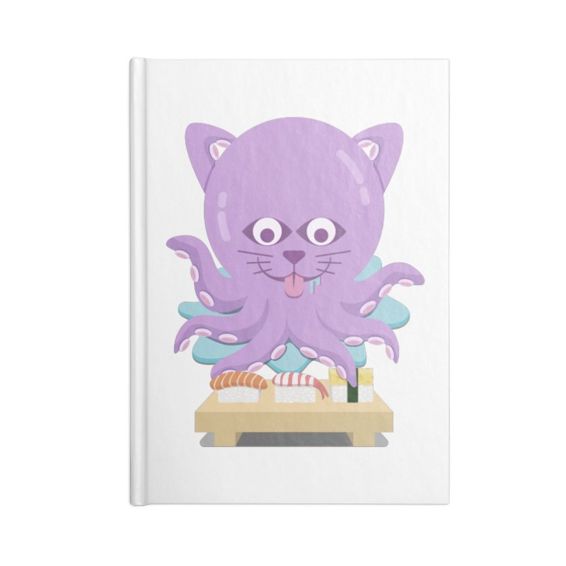 NekoTako, the Cat Wannabe Octopus, Loves Sushi. Accessories Notebook by Sidewise Clothing & Design