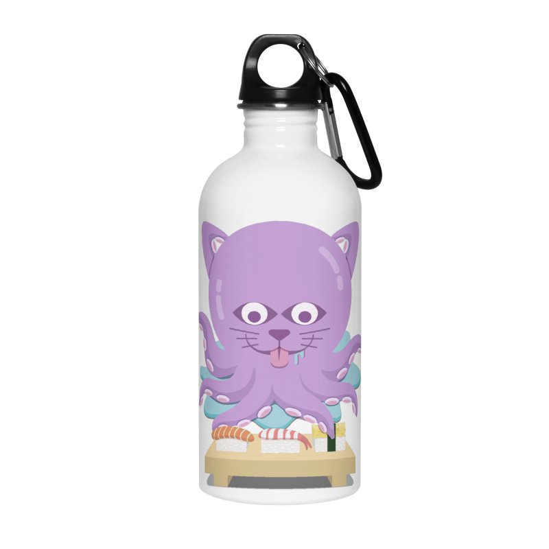 NekoTako, the Cat Wannabe Octopus, Loves Sushi. Accessories Water Bottle by Sidewise Clothing & Design