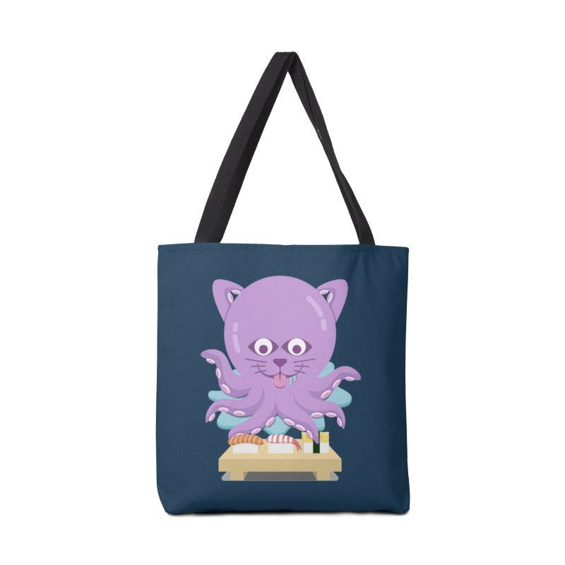 NekoTako, the Cat Wannabe Octopus, Loves Sushi. Accessories Bag by Sidewise Clothing & Design