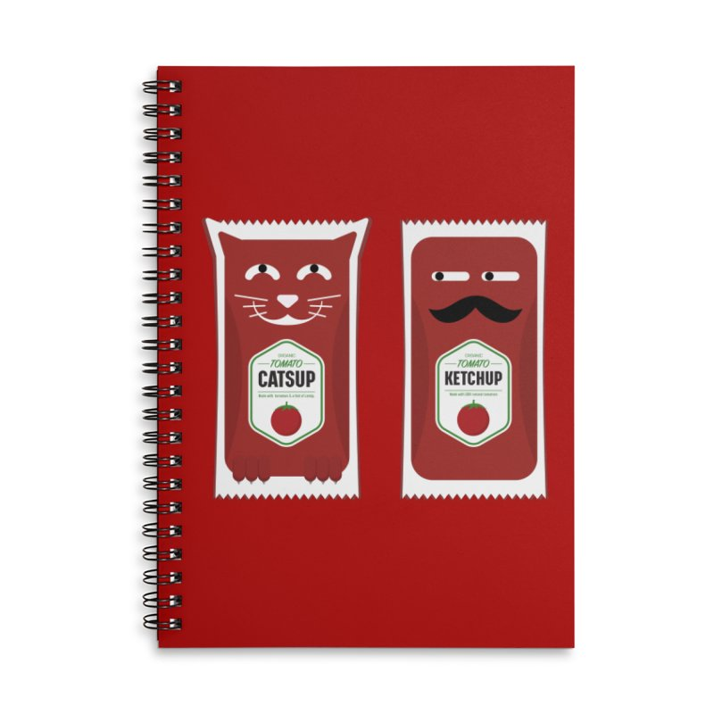 Catsup vs Ketchup Accessories Lined Spiral Notebook by Sidewise Clothing & Design
