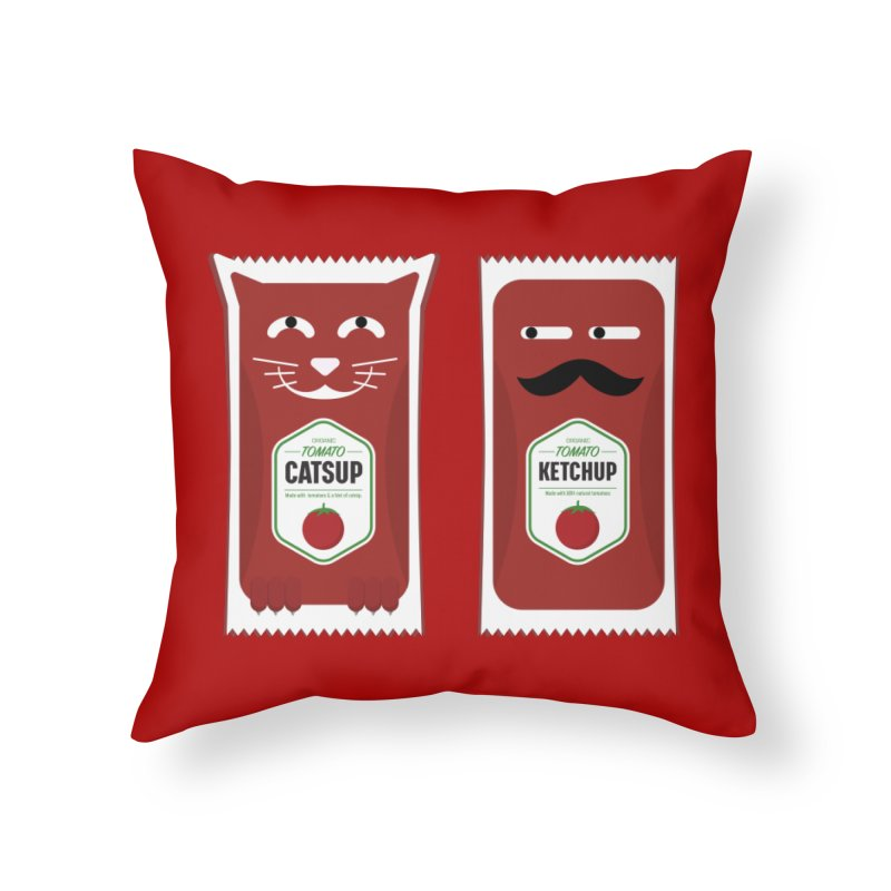 Catsup vs Ketchup Home Throw Pillow by Sidewise Clothing & Design