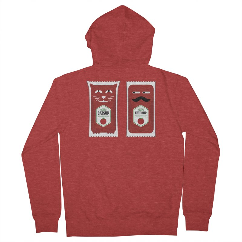 Catsup vs Ketchup Men's French Terry Zip-Up Hoody by Sidewise Clothing & Design