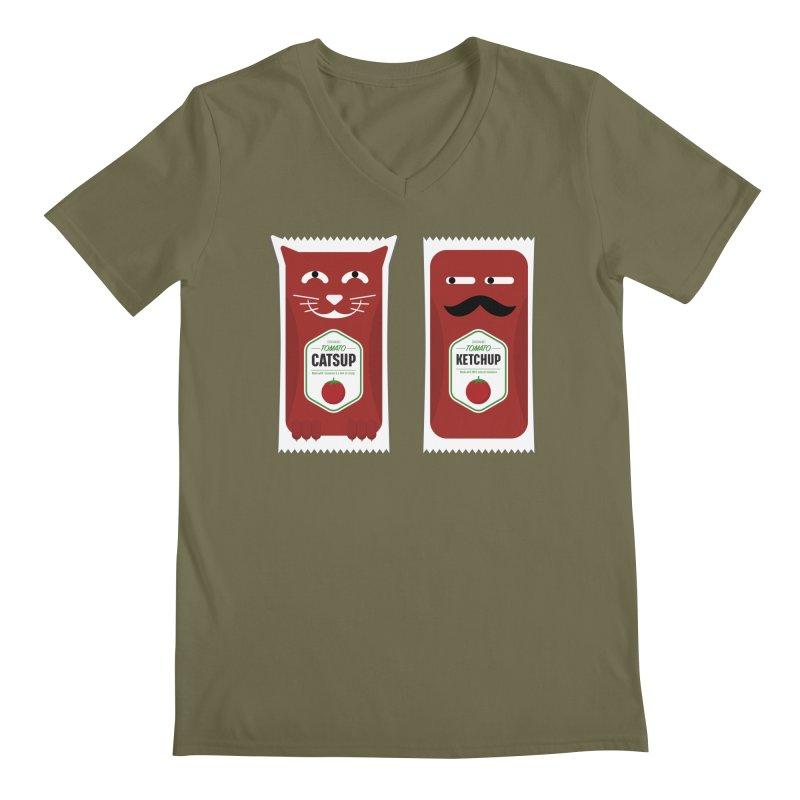 Catsup vs Ketchup Men's Regular V-Neck by Sidewise Clothing & Design
