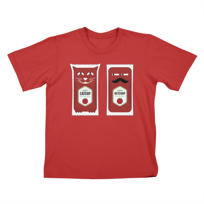 Catsup vs Ketchup Kids T-Shirt by Sidewise Clothing & Design