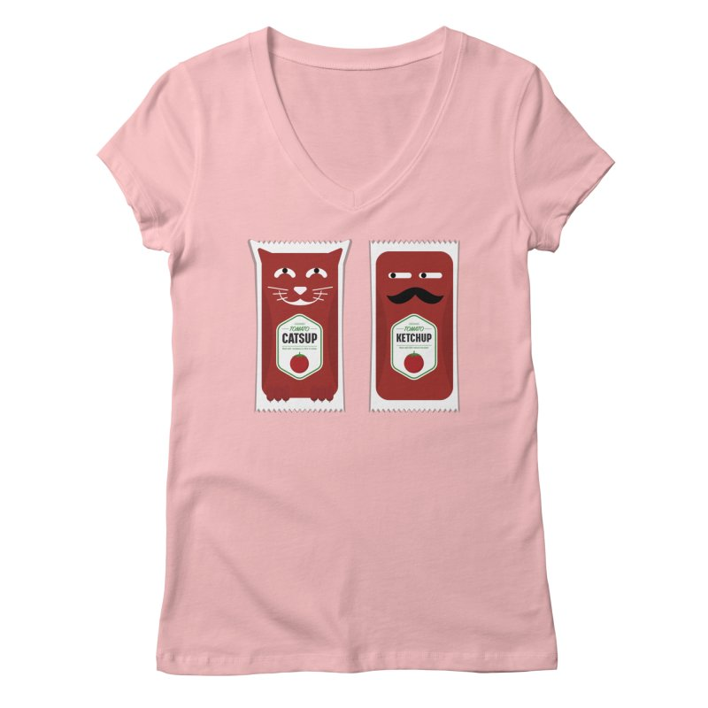 Catsup vs Ketchup Women's Regular V-Neck by Sidewise Clothing & Design