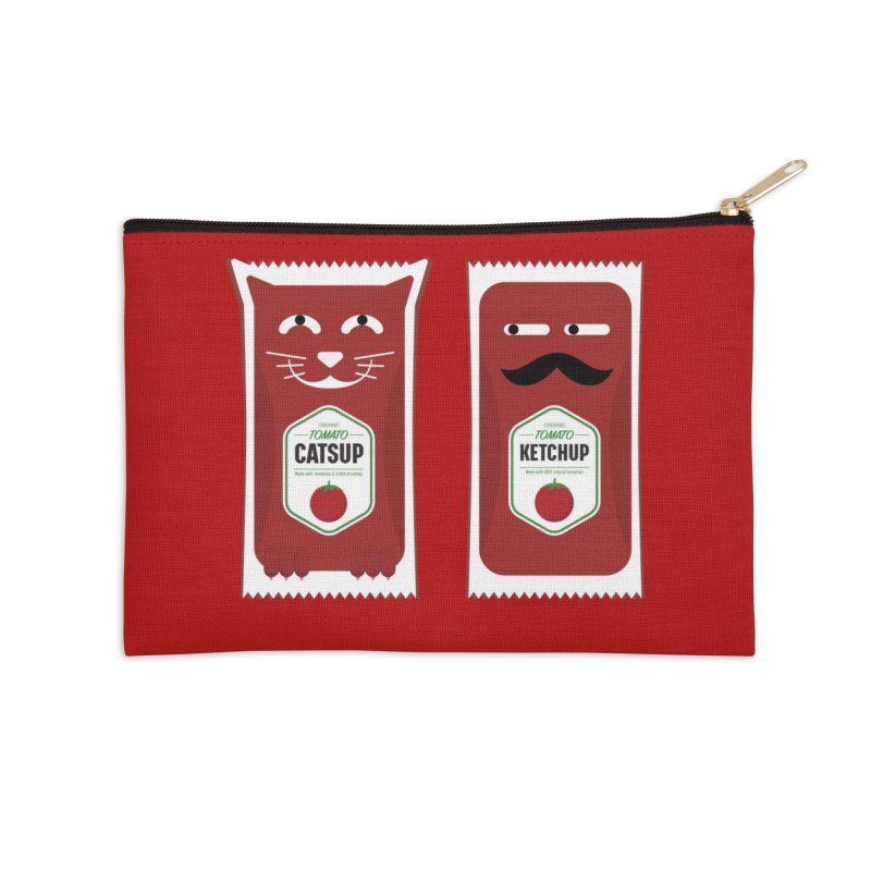 Catsup vs Ketchup Accessories Zip Pouch by Sidewise Clothing & Design