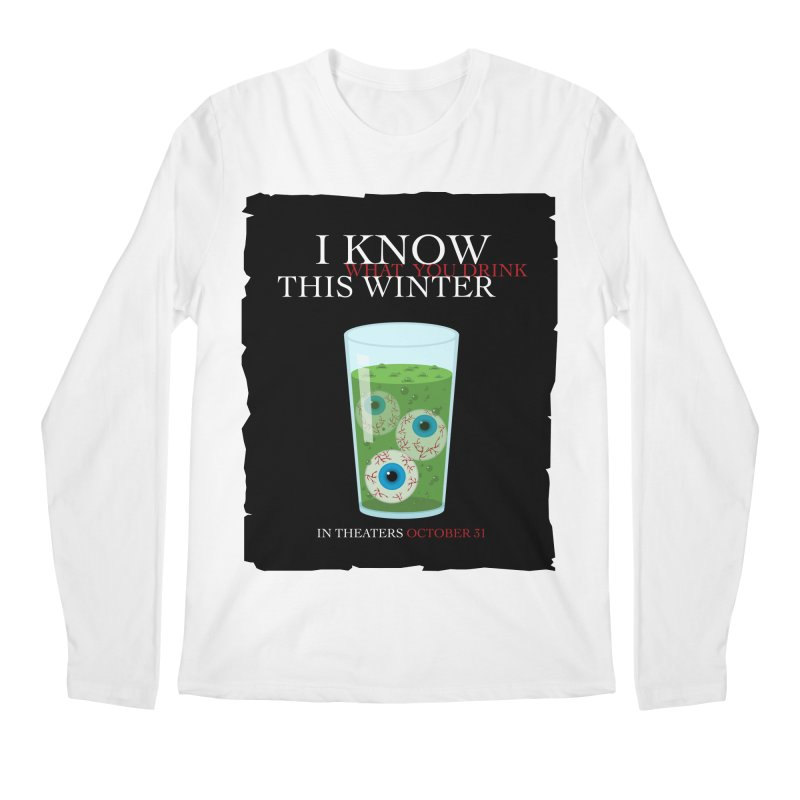 Halloween Poster Parody – I Know What You Drink This Winter Men's Regular Longsleeve T-Shirt by Sidewise Clothing & Design